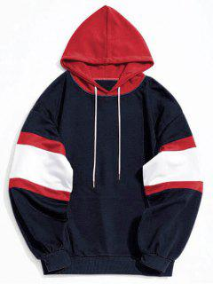 Kangaroo Pocket Color Block Hoodie - Deep Blue L