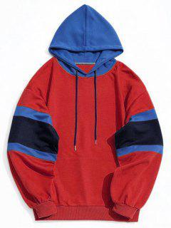 Känguru Tasche Farbblock Hoodie Männer Kleidung - Rot L