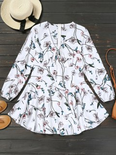 Long Sleeve Drawstring Floral A Line Dress - White M