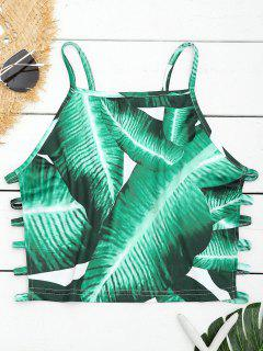 Leaves Print Ladder Découpez Cami Top - Vert S