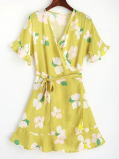 Floral Flouncy Sleeve Wrap Mini Dress - Yellow M