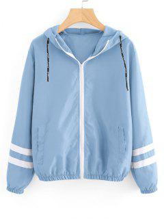 Zip Up Contrast Ribbons Trim Jacket - Light Blue M