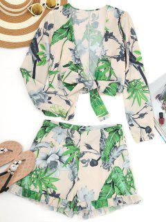 Leaf Print Crop Wrap Top And Frilled Shorts - Apricot M
