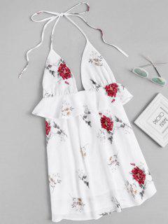 Robe Dos Nu Dos Nu à Imprimé Floral - Blanc L