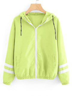 Zip Up Contrast Ribbons Trim Jacket - Neon Green M