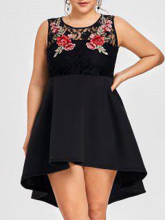 Robe Grande Taille Basse Avec Broderie Florale - Noir 5xl