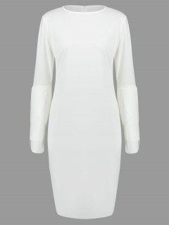 Round Collar Petal Sleeve Fitted Dress - White M