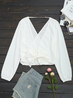 Open Back Self Tie Bowknot Blouse - White L