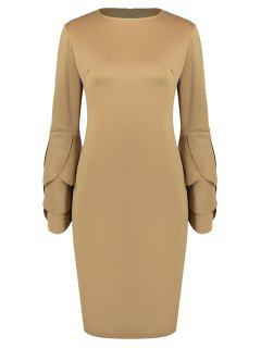 Round Collar Petal Sleeve Fitted Dress - Camel M