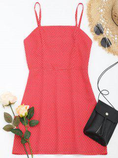 Polka Dot Cami Summer Dress - Red S