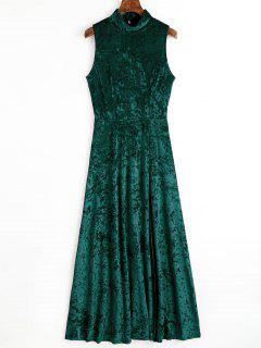 Open Back High Slit Velvet Maxi Dress - Blackish Green S