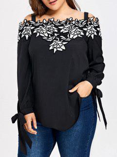 Plus Size Open Shoulder Applique Tunic Top - Black 5xl