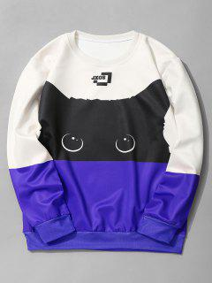 Cat Graphic Color Block Sweatshirt - Royal M