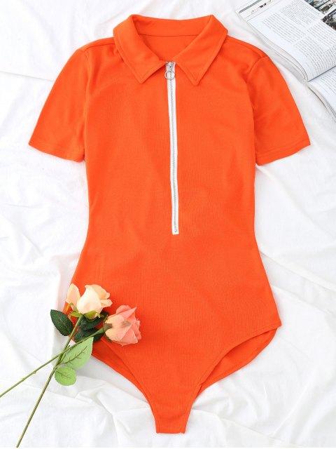 Body demi-zippé à manches courtes tricoté - Saumon L Mobile