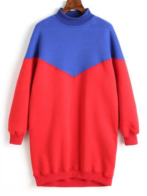 Longline Two Tone Sweatshirt - Rot S Mobile