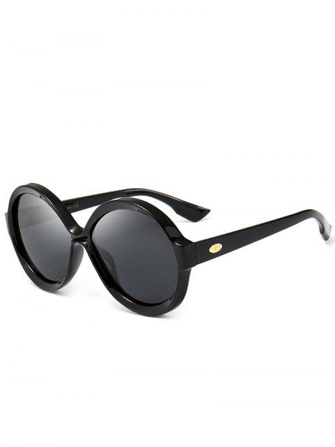 shop Anti-fatigue Full Frame Decorated Round Sunglasses - BLACK  Mobile