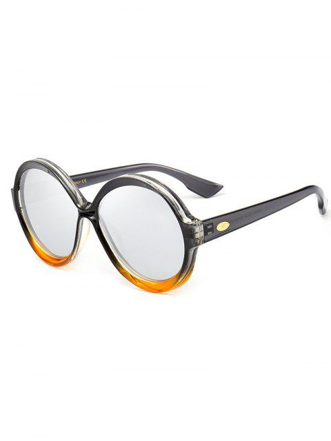 shops Anti-fatigue Full Frame Decorated Round Sunglasses - REFLECTIVE WHITE COLOR  Mobile