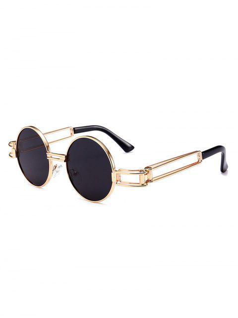 Aushöhlen Metall Full Frame Dekoration Runde Sonnenbrille - Schwarz  Mobile