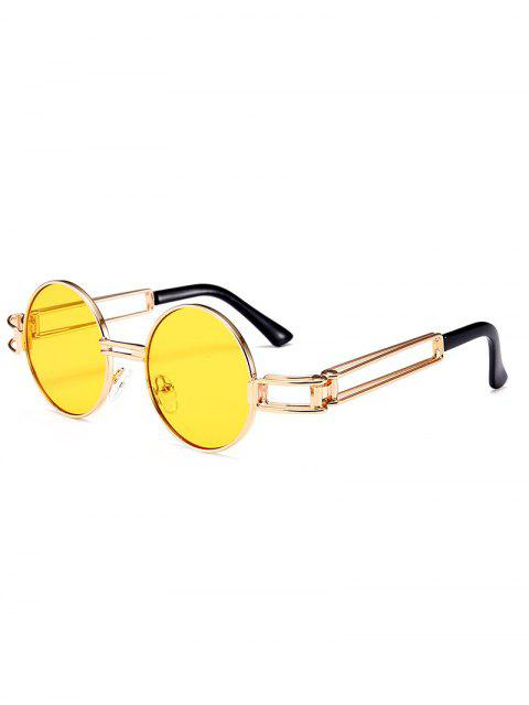 unique Hollow Out Metal Full Frame Decoration Round Sunglasses - YELLOW  Mobile