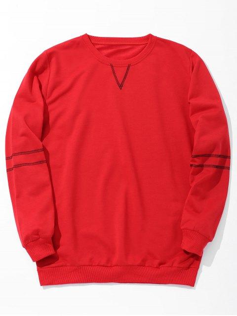 Sweat-shirt à Couture pour Homme - Rouge L Mobile