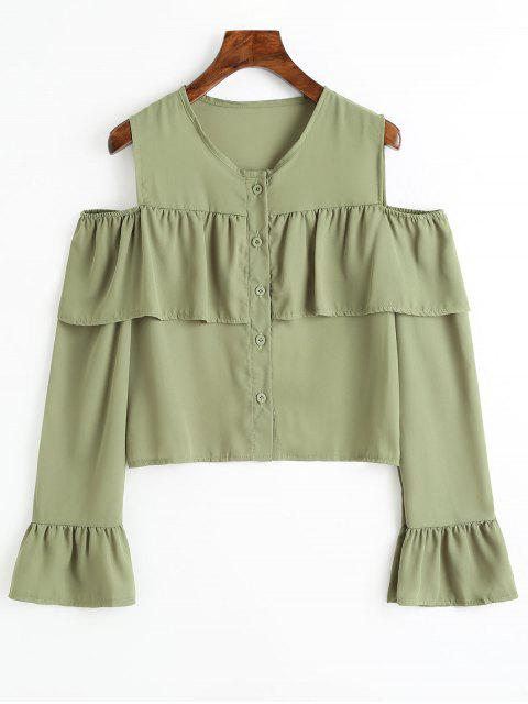 new Cold Shoulder Flare Sleeve Flounce Chiffon Blouse - PEA GREEN L Mobile