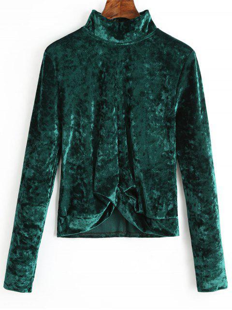 Blusa de terciopelo recogido cuello alto - Verde negruzco XL Mobile