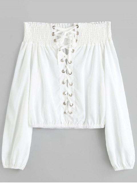 trendy Off Shoulder Smocked Lace Up Blouse - WHITE XL Mobile