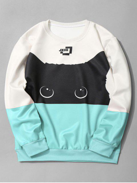 unique Cat Graphic Color Block Sweatshirt - AZURE M Mobile