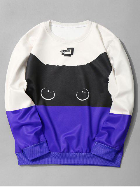 lady Cat Graphic Color Block Sweatshirt - ROYAL M Mobile