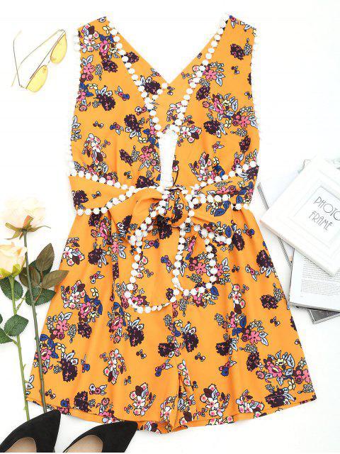 fancy Floral Print Criss Cross Plunge Romper - FLORAL S Mobile