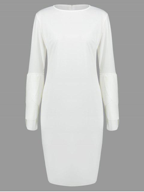 womens Round Collar Petal Sleeve Fitted Dress - WHITE L Mobile