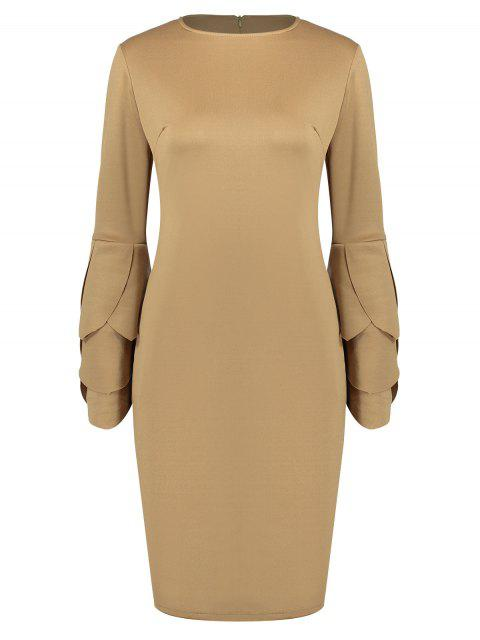 women Round Collar Petal Sleeve Fitted Dress - CAMEL L Mobile
