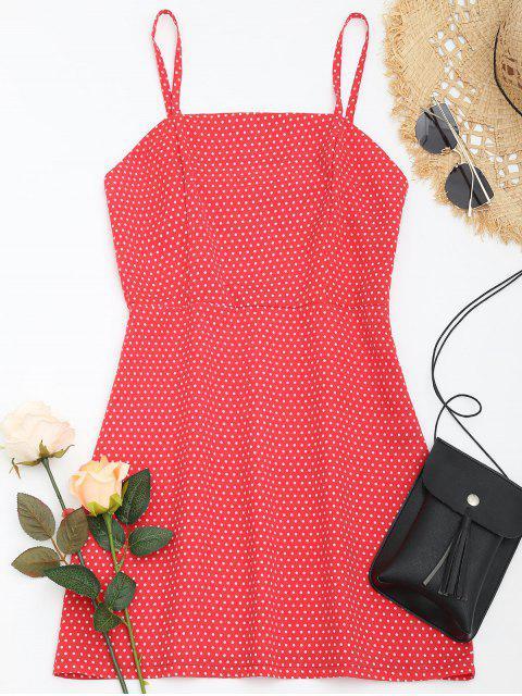 Robe d'été à carreaux à pois - Rouge M Mobile