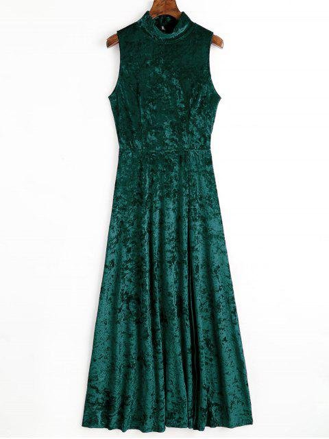 shops Open Back High Slit Velvet Maxi Dress - BLACKISH GREEN S Mobile