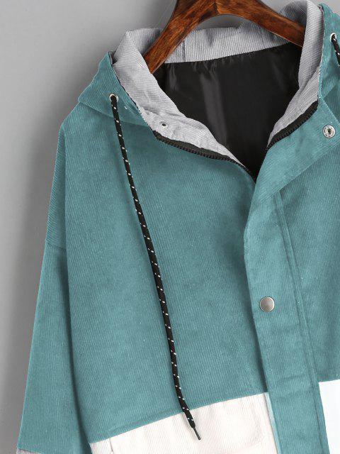 Veste à Capuche en Blocs de Couleurs en Velours Côtelé - Bleu Vert XL Mobile