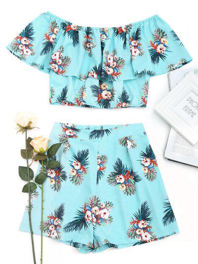 Off Shoulder Flower Top And Shorts Set - Floral S