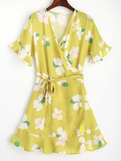 Floral Flouncy Sleeve Wrap Mini Dress - Amarelo Xl