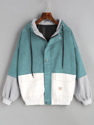 Hooded Color Block Corduroy Jacket - Blue Green L
