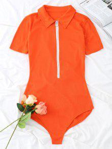 محبوك قصيرة الأكمام نصف البريدي ارتداءها - أحمر برتقالي L