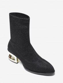 مطرزة القماش منتصف العجل الأحذية - أسود 37