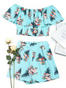 Off Shoulder Flower Top E Shorts Set - Floral L