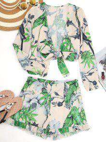 Leaf Print Crop Wrap Top E Shorts Frilled - Damasco L