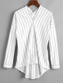 Gestreifte V-Ausschnitt High Low Bluse - Weiß L