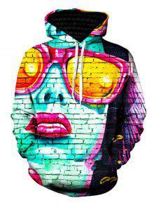 3d نظارات فتاة و جدار طباعة البلوز هوديي - S