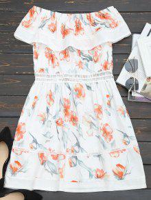 Vestido Floral Com Floco De Ombro Para Fora - Branco M
