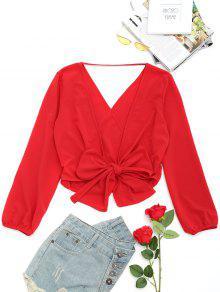 Blusa Con Lazo Descubierto Y Lazo Abierto - Rojo Oscuro S