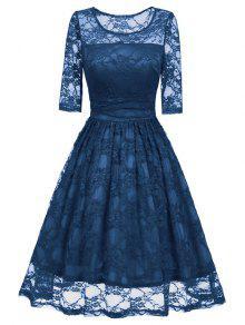 خمر صالح ومضيئة فستان الدانتيل - أزرق S