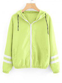 Casaco De Acabamento Com Fitas De Contraste Com Fitas - Neon Verde S