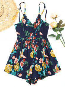 Open Back Floral Criss Cross Romper - Azul Arroxeado Xl