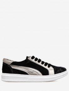 اللون كتلة خياطة تزلج الأحذية - أسود 35